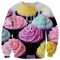 Fashion 2014 Women The Cake Pullovers Funny 3D Sweatshirts Food Print Black Collar Plus Size Galaxy Sweaters Hoodies Top T-203