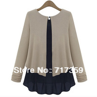 1pc/lot Women Autumn O-neck Faux Two piece Chiffon Primer High Density Woolen Patchwork Loose Knitted Sweater 653114