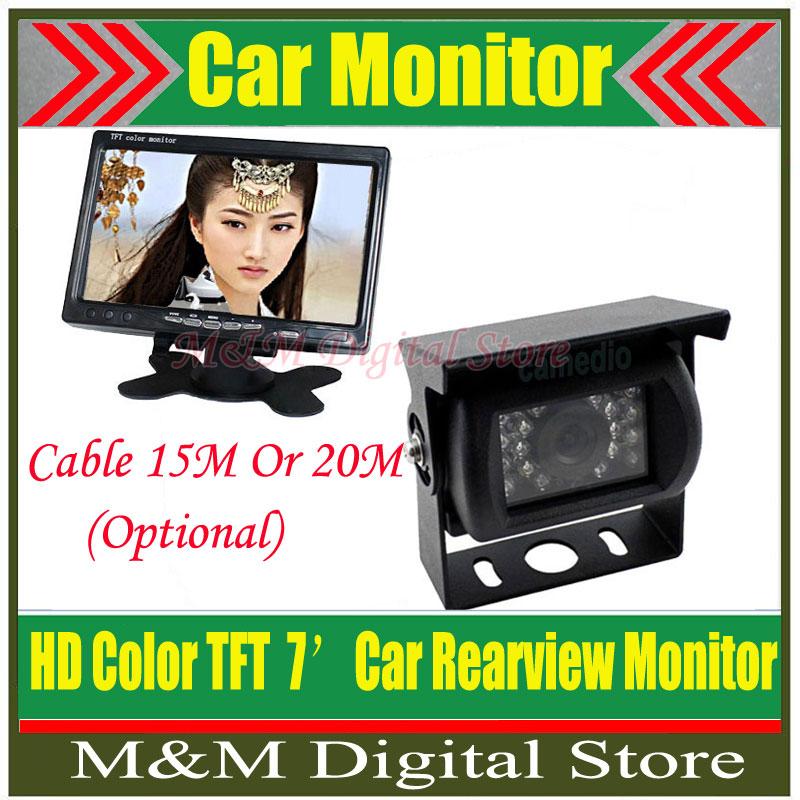 "Factory Price NEW 7"" LCD Monitor+18 IR Reverse Camera Car Rear View Kit car camera Truck BUS parking sensor(China (Mainland))"
