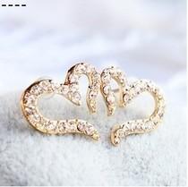 Free Shipping $10 (mix order) New Fashion Vintage Plated Small Love Imitation Diamond Stud Earrings E611 Jewelry(China (Mainland))