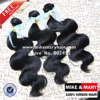 Free Shipping Mike & Mary Top Quality Malaysian human Virgin Hair Body Wave 3pcs/lot  Natural Color 1b Cuticle Malaysian Hair