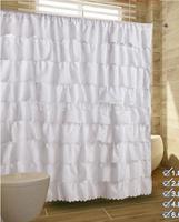 multi white pink fashion polyster waterproof curtains bathroom shower curtain ruffle cheap solid khaki bath curtains blue yellow