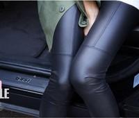 hot !  Free shipping new 2014 women's pants Fashion sexy Imitation leather slim PU pants women's