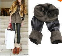 2013 Winter Warm Bamboo Brushed Faux Leather Legging  Beaver Velvet plug inner Thickening Winter Warm Leggings colors mixed