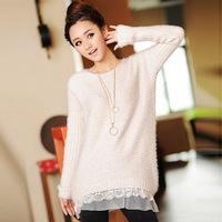 Korean Style Elegant O-Neck Long Sleeve Bottom Lace Macrame Knitting Pullover Sweater For Women Tops Brand Loose Sweater Dress