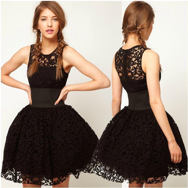 royal europe style women bubble tutu dress summer spring black lace dress elastic waistband hollow out sweetheart dress cutout(China (Mainland))