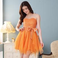 new fashion satin beautiful black orange champagne strapless short design plus size women formal dress XL/XXL/3XL