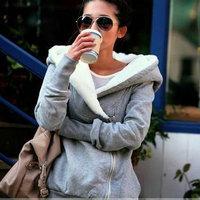 2015 Korea Fashion Women's Hoodies Coat Warm Zip Up Outerwear Sweatshirts 2 Colors Black Grey Autumn Winter Shirts Women
