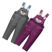 Hot!! Winter Children's Down Pants Boy Girl Down Bib Pants Warm Down Trousers For 3--6 years