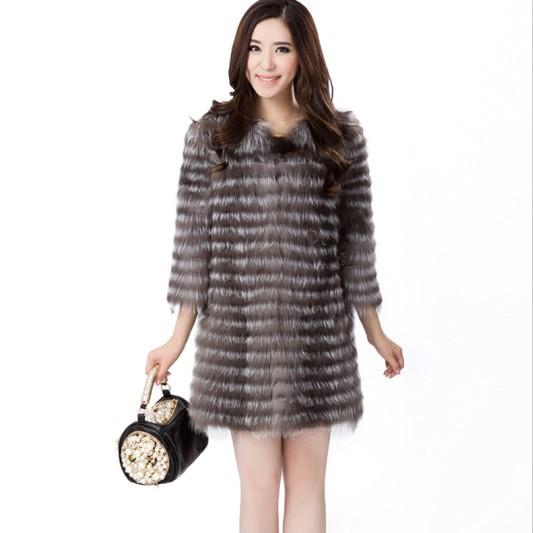 Caldo! Nuovo 2014 primavera donne moda cappotti naturali argento giacche in pelliccia di volpe vera pelliccia di volpe gilet gilet disegno a strisce plus size