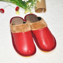envío gratis 2014 hembra/macho/invierno en zapatillas de casa/piel oveja cuero genuino zapatillas de interior las mujeres deslizador de cuero genuino(China (Mainland))