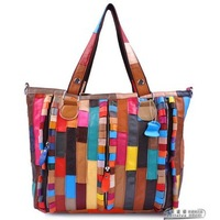 FlY04 Women Genuine Leather girls Messenger Bag Zipper Decoration Sheepskin Handbag Womens Patchwork Bag Free Shipping