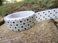 Wholesale(20pcs/lot) Lovely Japan Paper Tape,Black Dots Masking Paper Tape 15mm x 10m Free shipping