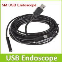 Portable 5m Cable 7mm Lens Waterproof Mini USB Endoscope Inspection Camera Borescope Flexible Tube Snake Scope 6 LEDs