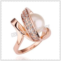 min order US15 Promotion,free shipping,18k gold plated ring,Austrian crystals ring,Nickle free antiallergic,GS18KRGPR160