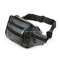 Soft Vintage Leather Men Waist Sports Bags Outdoor Travel Belt Wallets Black B16 12847
