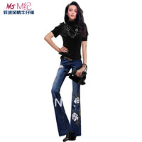 M 2014 original design national trend boot cut beading embroidery flower jeans female trousers mid waist