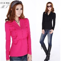 Plus Size Spring Clothes Brand Women Long Sleeve Winter Blouse With Ruffle blusas Black 4XL