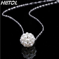 Free Shipping Natural water pearl ball pendant necklace 925 sterling silver chain
