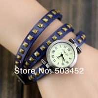 Tops Wrap Around Square Spike Vintage Watch, Ladies Dress Leather Watch,90pcs/lot,4 Colors ,DHL Free Shipping To Usa/Europe