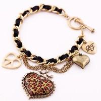 P 1248 Free shipping Peach-heart leopard print crystal peace mark leash bracelet women bangle