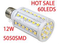 Super Bright E27 AC 220V-240V 12W Warm White/Cool White 5050 SMD 60LED Corn Lights Free Shipping