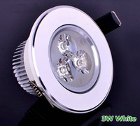 Free shipping 3W LED Down light Warm white Ceiling 300LM,AC85~265V White appearance 100PCS/LOT  Recessed downlight