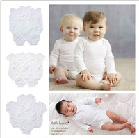 Solid white color baby bodysuit shorts and long sleeve bodysuits for 6-18M baby 4 pcs/lot free shipping