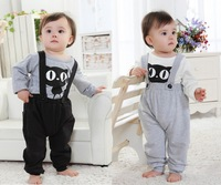 New 2014 baby boy 2 pcs suit .child kitty pattern long sleeves tshirt and bibs 100% cotton fabric clothing set for autumn-spring