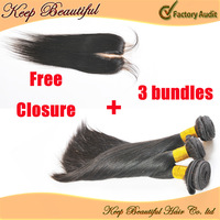 Brazilian Virgin Hair 4pcs/Lot Free Part Lace Closure With 3pcs Hair Bandles Natrual Straight Unprocessed Queen Human Hair Weave