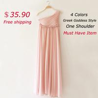Free shipping hot selling straight one-shoulder ankle-length formal dress greek goddess elegant & classical style evening dress