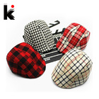 Free shopping 2013 Autumn And Winter Kids Fashion Berets Plaid Hats For Baby Boy And Girl  Hat And Cap  15 Colors(China (Mainland))