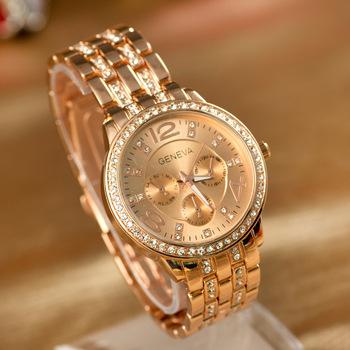 Женева мужчины кварцевые часы горный хрусталь мода свободного покроя наручные часы из нержавеющей стали аналоговый