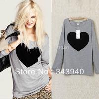 Free&Drop Fashion Women Love Heart Printed Round Neck Long Sleeve T shirt Tops HR746