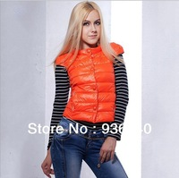 Autumn-summer New 2013 Winter Women's Down Cotton Thick Spliced  Coat Lady Single Breasted Orange Jacket Warm Vest 4016
