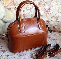 Free Shipping Genuine Leather Oil Cowhide Shell Bag Dumplings Bag Bucket Handbag Vintage Brown women's handbag
