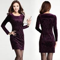 New  2014 autumn -winter plus size temperament velvet dress long sleeve print dress vintage evening purple dress