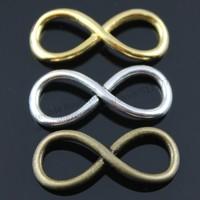 20pcs/lot 30*12mm 6 colors Black, Gold, Antique Gold, Antique Silver, Antique Bronze, Rhodium Plated Infinity charms