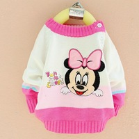 baby girl   cartoon design computer knitted sweaters pullovers 75-90cm three colors cheap newborn clothing  free shipping