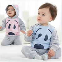 New 2014 hot sale baby boy bear printing 2 pcs hoodie set,baby boy spring autumn clothing set long sleeves 100 cotton