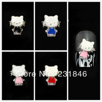 30 pcs Fashion Silver Plated 3D Alloy Cute Cat for Nail Art Tip Phone Decorations Decal U Pick Color Black Pink Red Blue 10X12mm