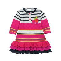 girls knitted striped dress baby winter dress children clothing 3-12 yrs