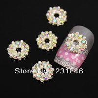 30pcs Glitters Design Donuts Shape Flower Alloy 3D AB Rhinestones Crystal Pearl Nail Art Tips DIY Decoration Cell Phone 11mm