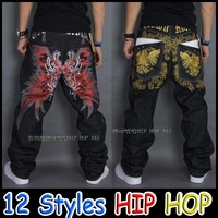 Embroidered Graffiti Baggy Large Plus Size 42 cool big man Hip Hop Jeans Dance Loose Type Casual Pants Fashion Brand Jeans
