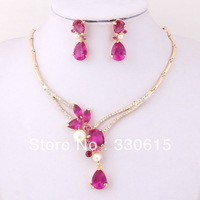 Free Shiping, Crystal 18K Gold Plated Pink Zircon Beads Pendants Necklace Earring Sets Fashion Women Party Jewelry Sets