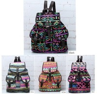 Детали и Аксессуары для сумок Vintage Colorful Print Womens Drawstring Button Canvas Backpack 2 Pocket Bag