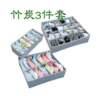 3pcs/set Bamboo Non-woven Soft Cover Storage Box For Underwear Bra Socks Necktie Foldable Bins(DM-124)