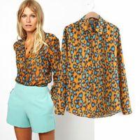 New Fashion Women's Elegant Long Sleeve Lapel Shirts Vintage Leopard Print Sexy Ladies Slim Chiffon Blouse Tops   CooLba061