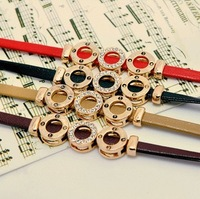 Free Shipping 2013 christmas gift accessories fashion quality eco-friendly Gilding leather bracelet women