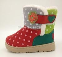 Winter warm boys girls snow boots fashion round dot thicken cotton lining  soft rubber bottom anti-skidding children ankle boots